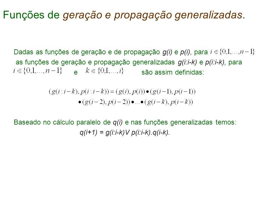 Dadas as funções de geração e de propagação g(i) e p(i), para as funções de geração e propagação generalizadas g(i:i-k) e p(i:i-k), para e são assim d