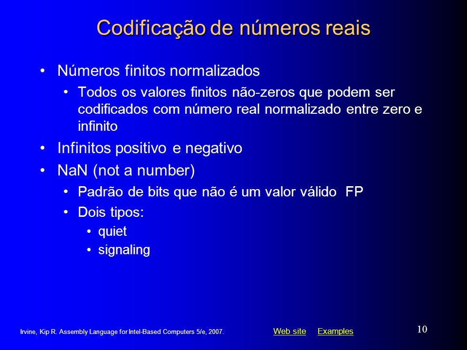 Web siteWeb site ExamplesExamples Irvine, Kip R. Assembly Language for Intel-Based Computers 5/e, 2007. 10 Codificação de números reais Números finito