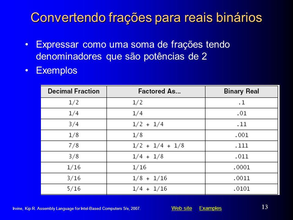 Web siteWeb site ExamplesExamples Irvine, Kip R. Assembly Language for Intel-Based Computers 5/e, 2007. 13 Convertendo frações para reais binários Exp