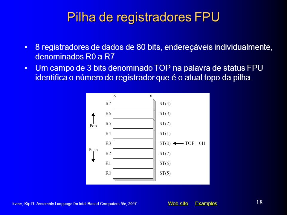 Web siteWeb site ExamplesExamples Irvine, Kip R. Assembly Language for Intel-Based Computers 5/e, 2007. 18 Pilha de registradores FPU 8 registradores