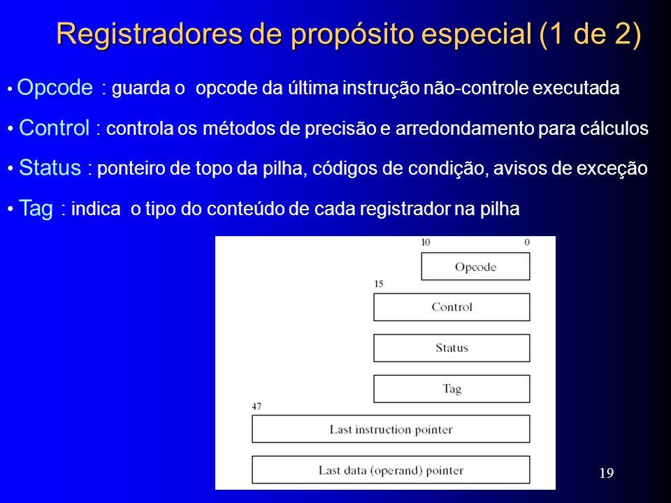 Web siteWeb site ExamplesExamples 19 Registradores de propósito especial (1 de 2) Opcode : guarda o opcode da última instrução não-controle executada