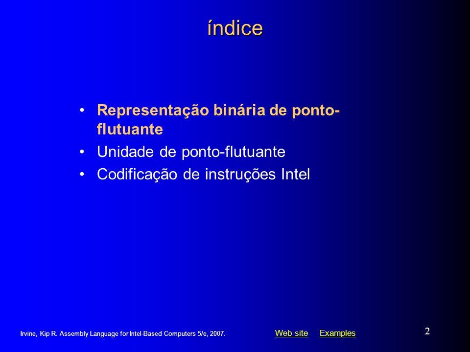 Web siteWeb site ExamplesExamples Irvine, Kip R. Assembly Language for Intel-Based Computers 5/e, 2007. 2 índice Representação binária de ponto- flutu