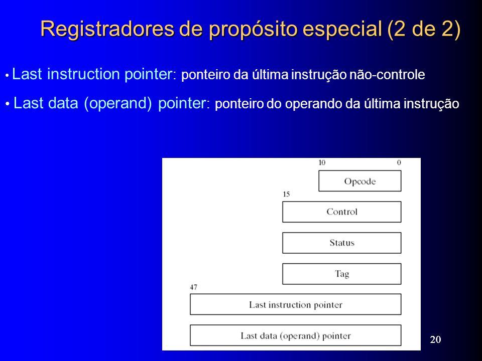 Web siteWeb site ExamplesExamples 20 Registradores de propósito especial (2 de 2) Last instruction pointer : ponteiro da última instrução não-controle