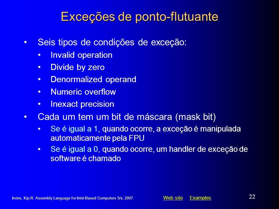 Web siteWeb site ExamplesExamples Irvine, Kip R. Assembly Language for Intel-Based Computers 5/e, 2007. 22 Exceções de ponto-flutuante Seis tipos de c