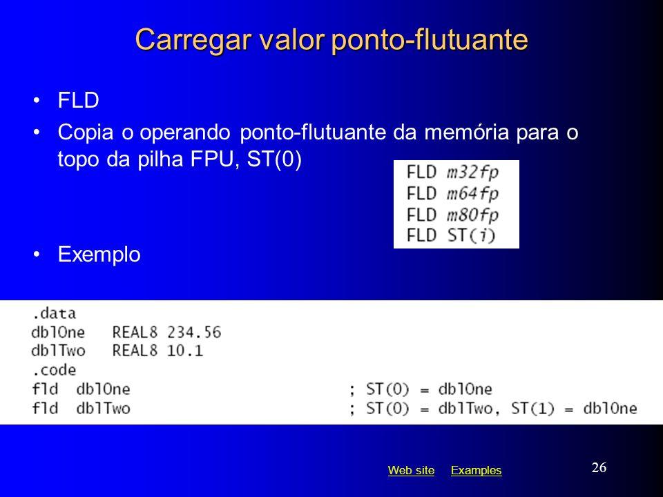 Web siteWeb site ExamplesExamples 26 Carregar valor ponto-flutuante FLD Copia o operando ponto-flutuante da memória para o topo da pilha FPU, ST(0) Ex