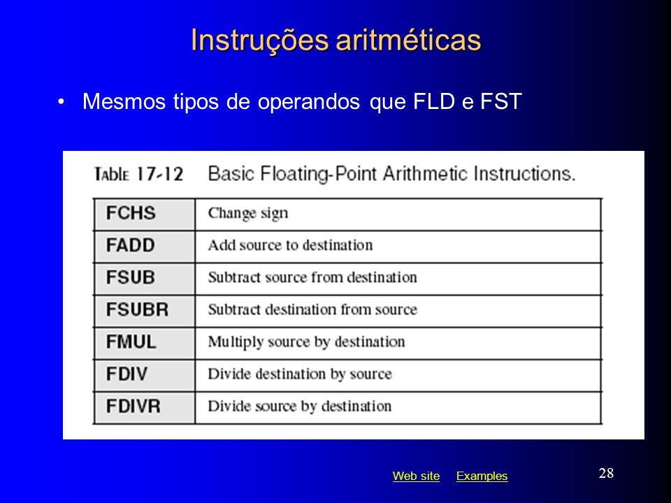 Web siteWeb site ExamplesExamples 28 Instruções aritméticas Mesmos tipos de operandos que FLD e FST