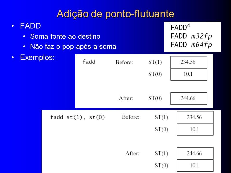 Web siteWeb site ExamplesExamples 29 Adição de ponto-flutuante FADD Soma fonte ao destino Não faz o pop após a soma Exemplos: