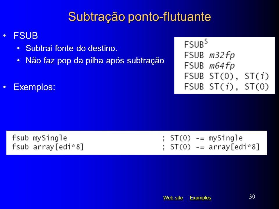 Web siteWeb site ExamplesExamples 30 Subtração ponto-flutuante FSUB Subtrai fonte do destino. Não faz pop da pilha após subtração Exemplos: