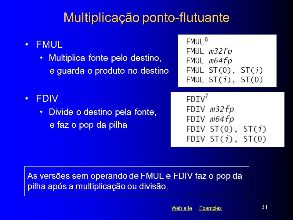 Web siteWeb site ExamplesExamples 31 Multiplicação ponto-flutuante FMUL Multiplica fonte pelo destino, e guarda o produto no destino FDIV Divide o des