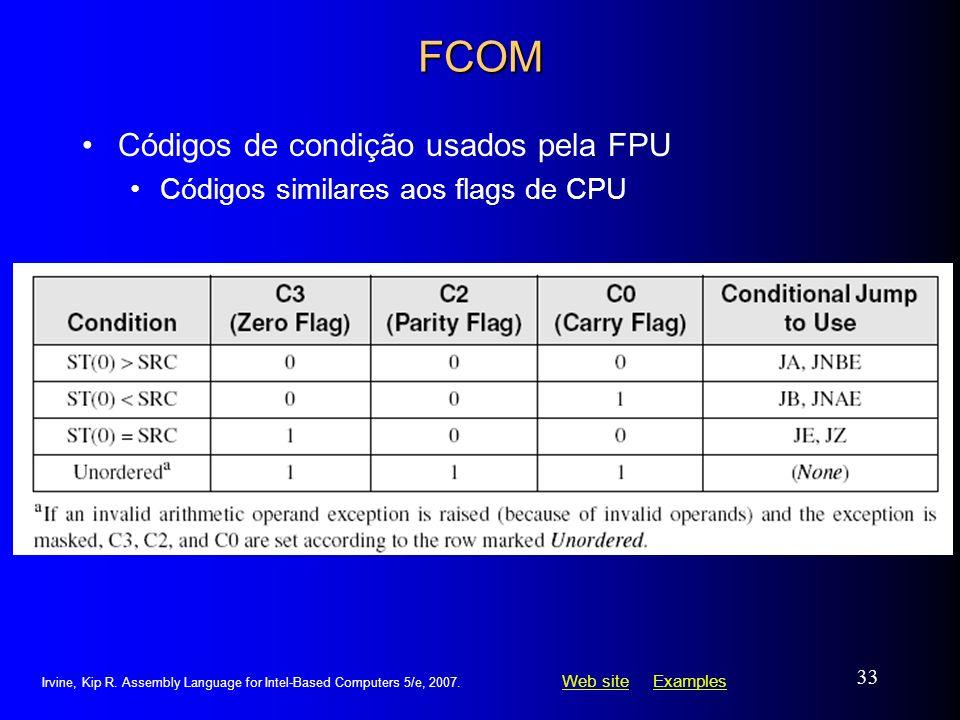 Web siteWeb site ExamplesExamples Irvine, Kip R. Assembly Language for Intel-Based Computers 5/e, 2007. 33 FCOM Códigos de condição usados pela FPU Có