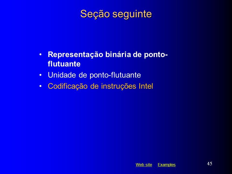 Web siteWeb site ExamplesExamples 45 Seção seguinte Representação binária de ponto- flutuante Unidade de ponto-flutuante Codificação de instruções Int