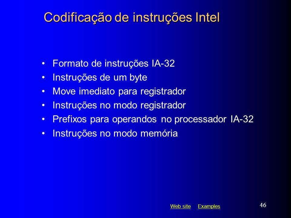 Web siteWeb site ExamplesExamples 46 Codificação de instruções Intel Formato de instruções IA-32 Instruções de um byte Move imediato para registrador