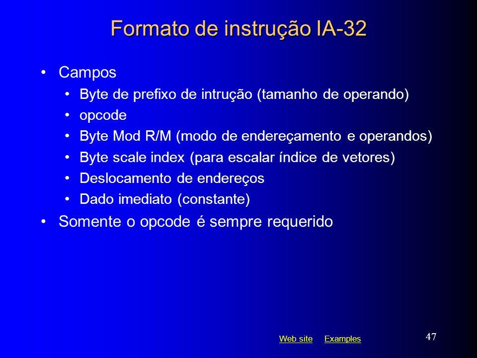 Web siteWeb site ExamplesExamples 47 Formato de instrução IA-32 Campos Byte de prefixo de intrução (tamanho de operando) opcode Byte Mod R/M (modo de