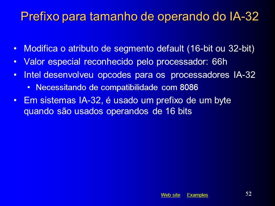 Web siteWeb site ExamplesExamples 52 Prefixo para tamanho de operando do IA-32 Modifica o atributo de segmento default (16-bit ou 32-bit) Valor especi