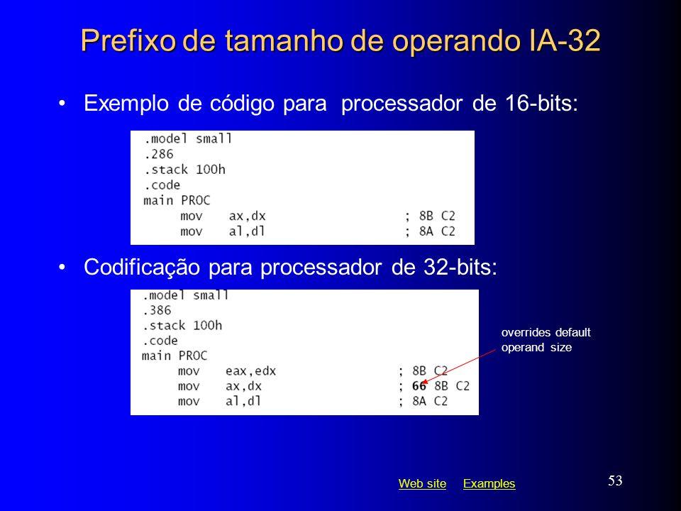 Web siteWeb site ExamplesExamples 53 Prefixo de tamanho de operando IA-32 Exemplo de código para processador de 16-bits: Codificação para processador
