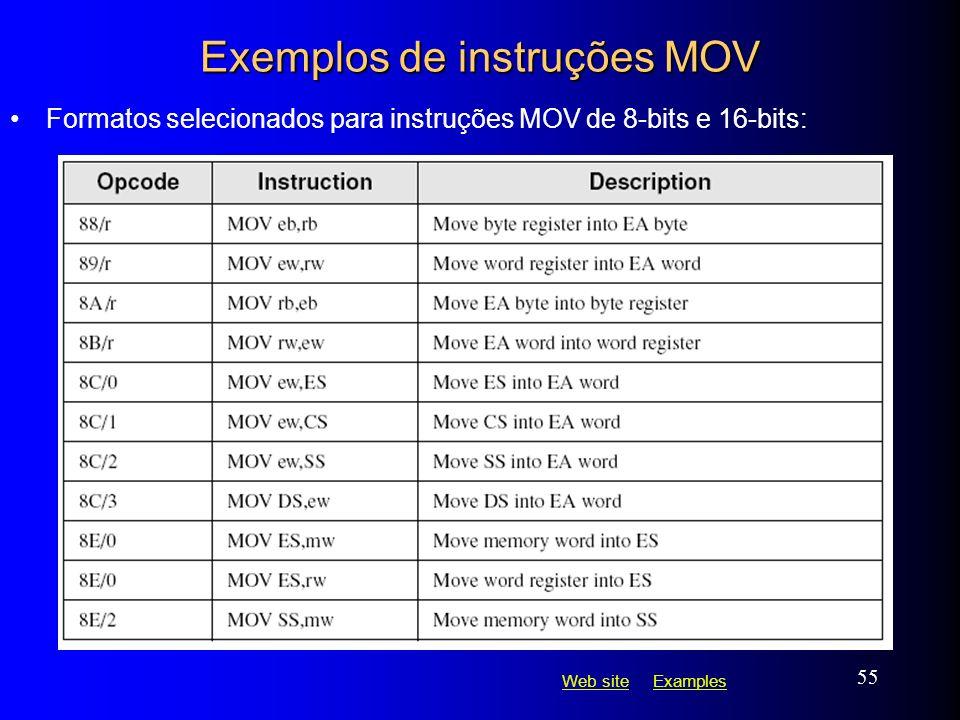 Web siteWeb site ExamplesExamples 55 Exemplos de instruções MOV Formatos selecionados para instruções MOV de 8-bits e 16-bits: