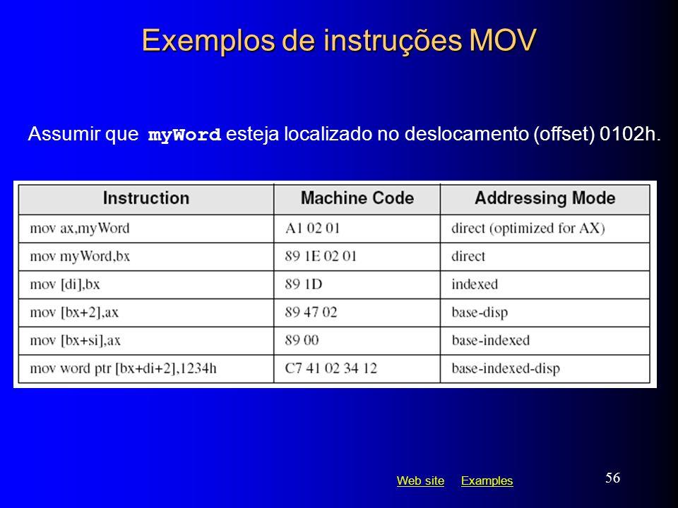 Web siteWeb site ExamplesExamples 56 Exemplos de instruções MOV Assumir que myWord esteja localizado no deslocamento (offset) 0102h.