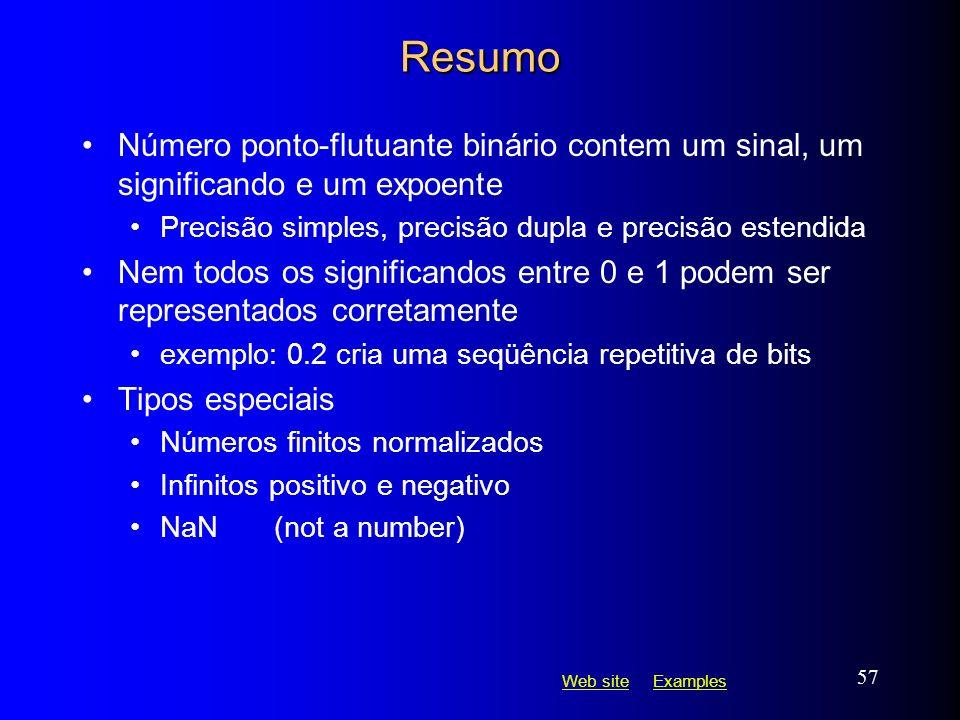 Web siteWeb site ExamplesExamples 57 Resumo Número ponto-flutuante binário contem um sinal, um significando e um expoente Precisão simples, precisão d