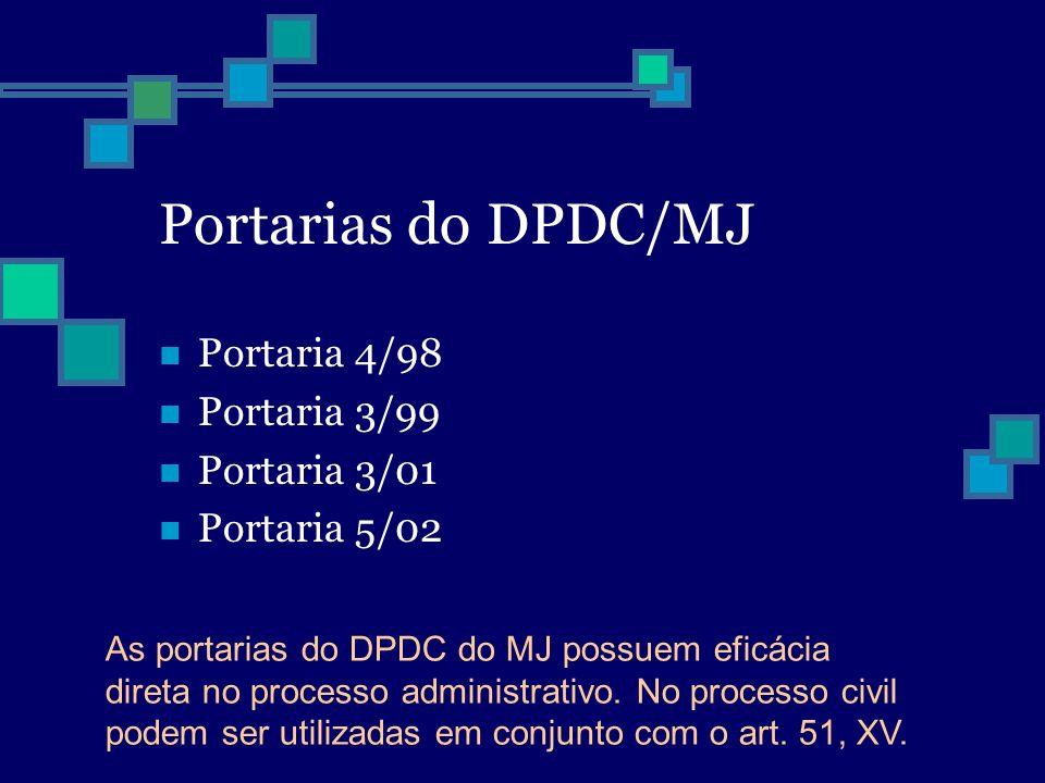 Portarias do DPDC/MJ Portaria 4/98 Portaria 3/99 Portaria 3/01 Portaria 5/02 As portarias do DPDC do MJ possuem eficácia direta no processo administra
