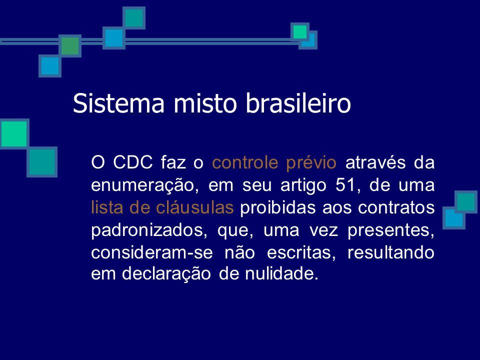 Sistema misto brasileiro O CDC faz o controle prévio através da enumeração, em seu artigo 51, de uma lista de cláusulas proibidas aos contratos padron