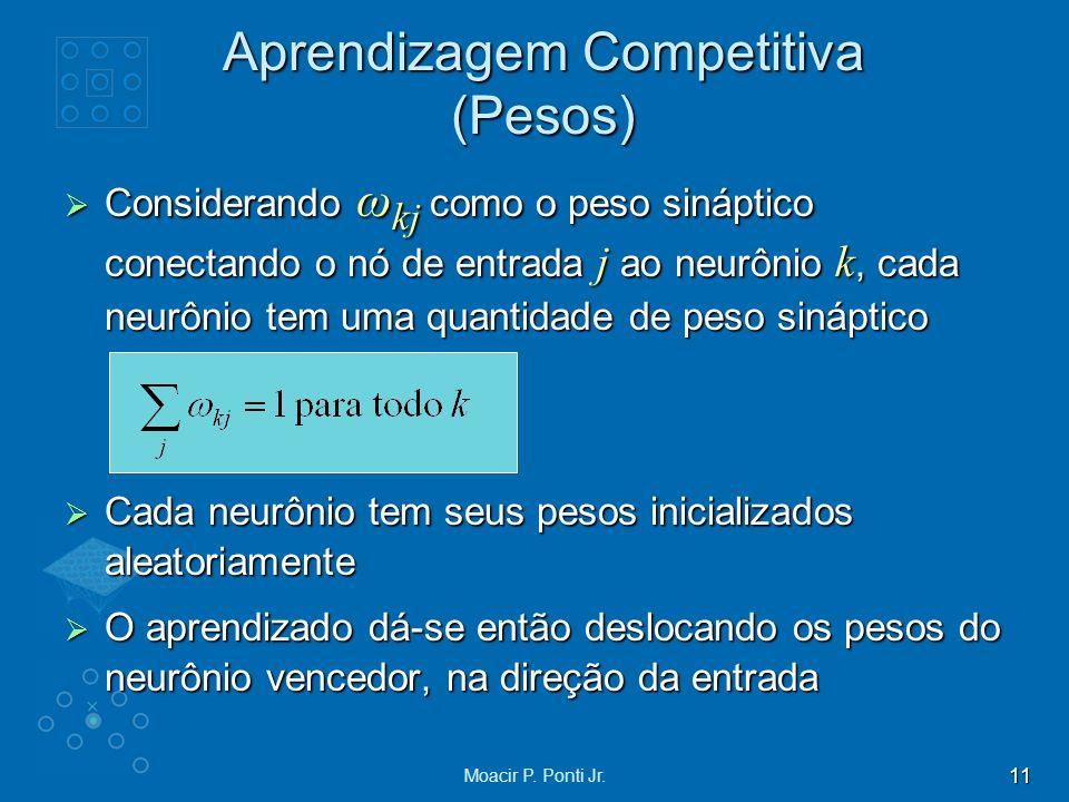 11 Moacir P. Ponti Jr. Aprendizagem Competitiva (Pesos) Considerando ω kj como o peso sináptico conectando o nó de entrada j ao neurônio k, cada neurô