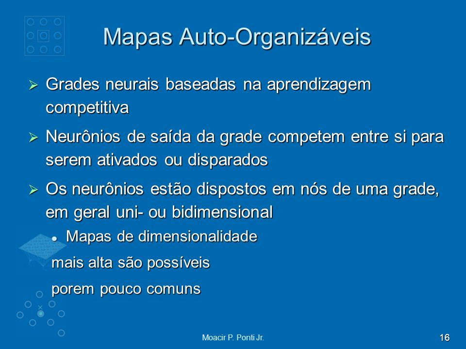16 Moacir P. Ponti Jr. Mapas Auto-Organizáveis Grades neurais baseadas na aprendizagem competitiva Grades neurais baseadas na aprendizagem competitiva