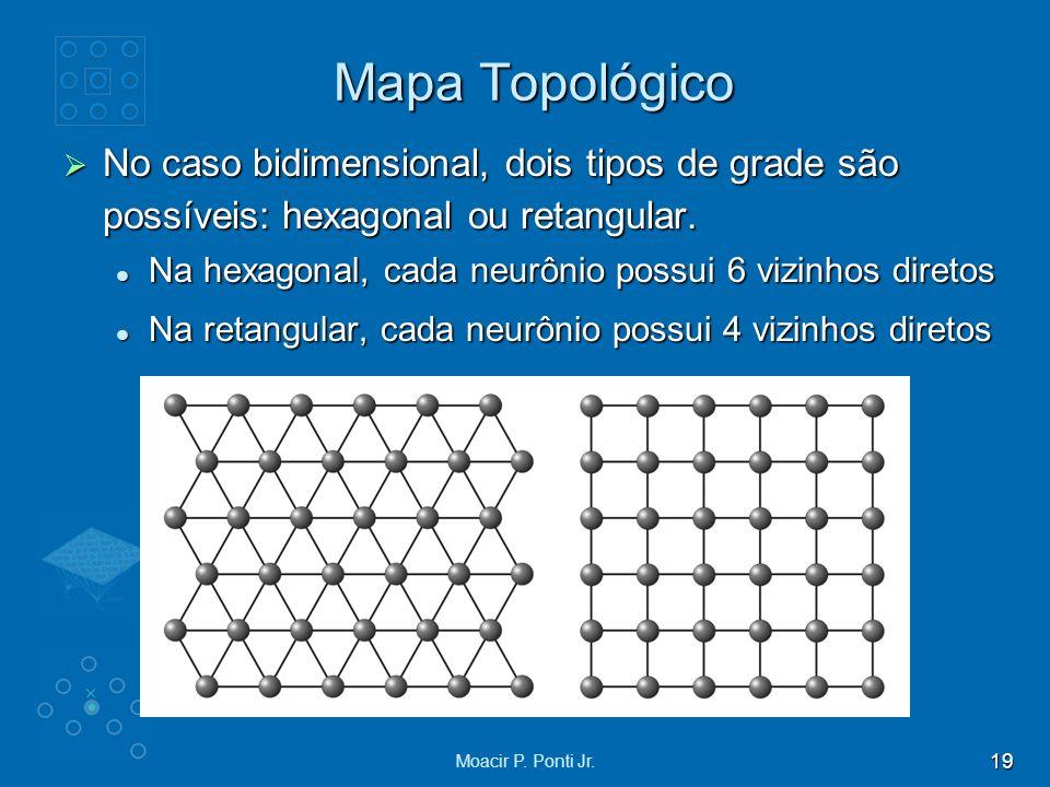 19 Moacir P. Ponti Jr. Mapa Topológico No caso bidimensional, dois tipos de grade são possíveis: hexagonal ou retangular. No caso bidimensional, dois