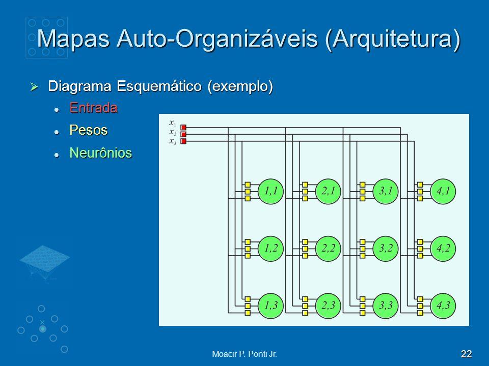 22 Moacir P. Ponti Jr. Diagrama Esquemático (exemplo) Diagrama Esquemático (exemplo) Entrada Entrada Pesos Pesos Neurônios Neurônios Mapas Auto-Organi