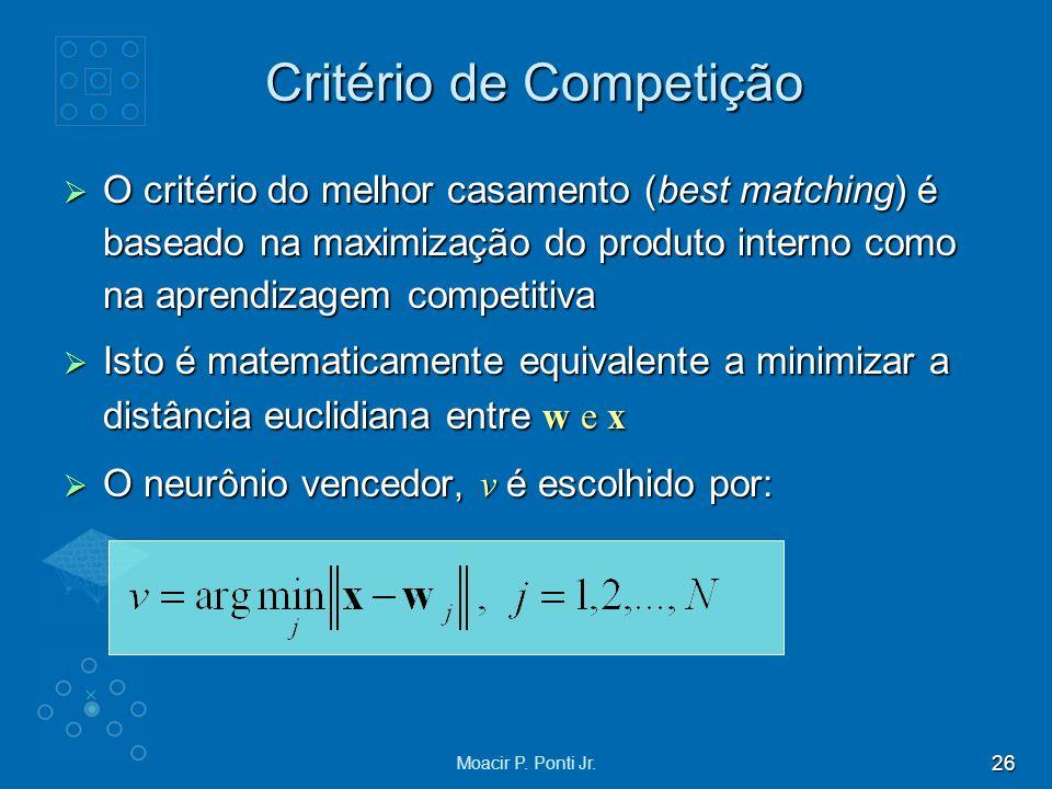 26 Moacir P. Ponti Jr. Critério de Competição O critério do melhor casamento (best matching) é baseado na maximização do produto interno como na apren