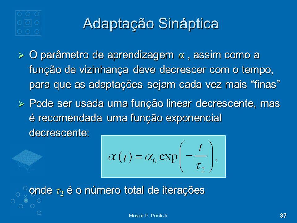 37 Moacir P. Ponti Jr. O parâmetro de aprendizagem α, assim como a função de vizinhança deve decrescer com o tempo, para que as adaptações sejam cada