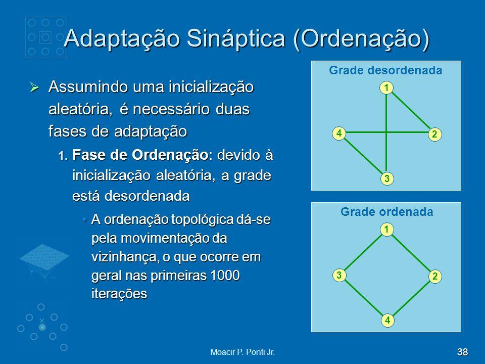 38 Moacir P. Ponti Jr. Adaptação Sináptica (Ordenação) Assumindo uma inicialização aleatória, é necessário duas fases de adaptação Assumindo uma inici