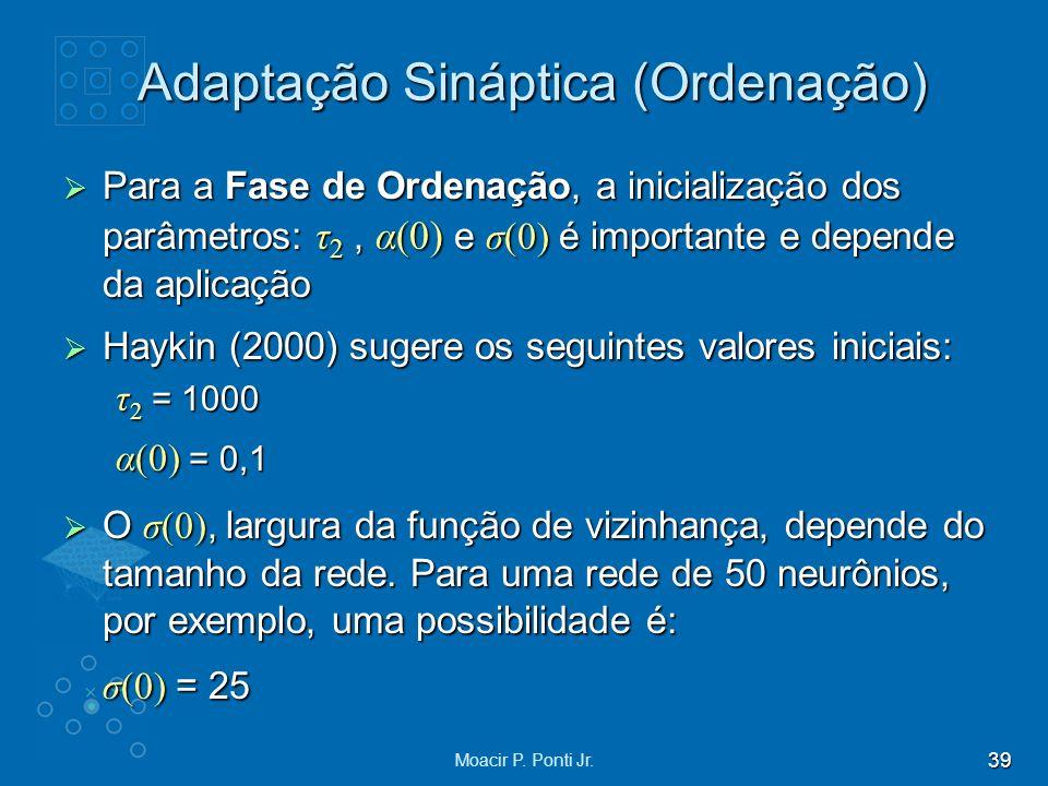 39 Moacir P. Ponti Jr. Adaptação Sináptica (Ordenação) Para a Fase de Ordenação, a inicialização dos parâmetros: τ 2, α(0) e σ(0) é importante e depen