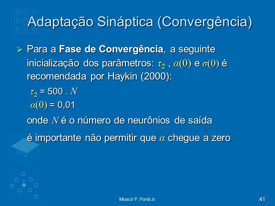 41 Moacir P. Ponti Jr. Adaptação Sináptica (Convergência) Para a Fase de Convergência, a seguinte inicialização dos parâmetros: τ 2, α(0) e σ(0) é rec
