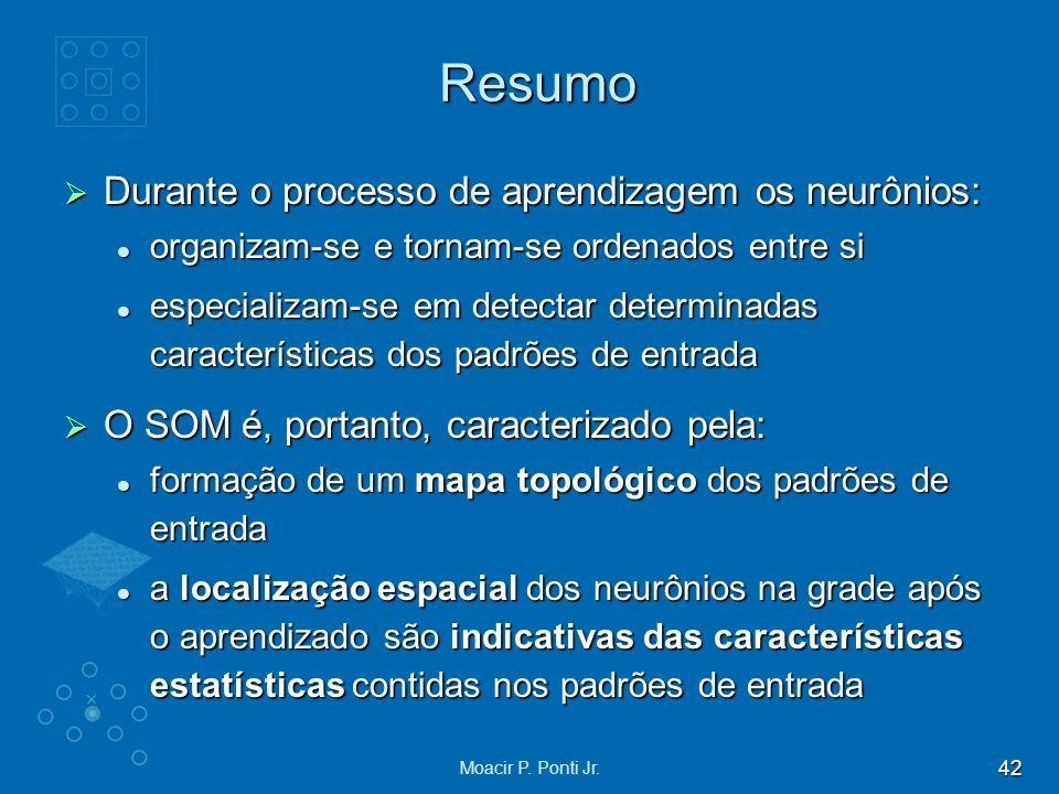 42 Moacir P. Ponti Jr. Resumo Durante o processo de aprendizagem os neurônios: Durante o processo de aprendizagem os neurônios: organizam-se e tornam-