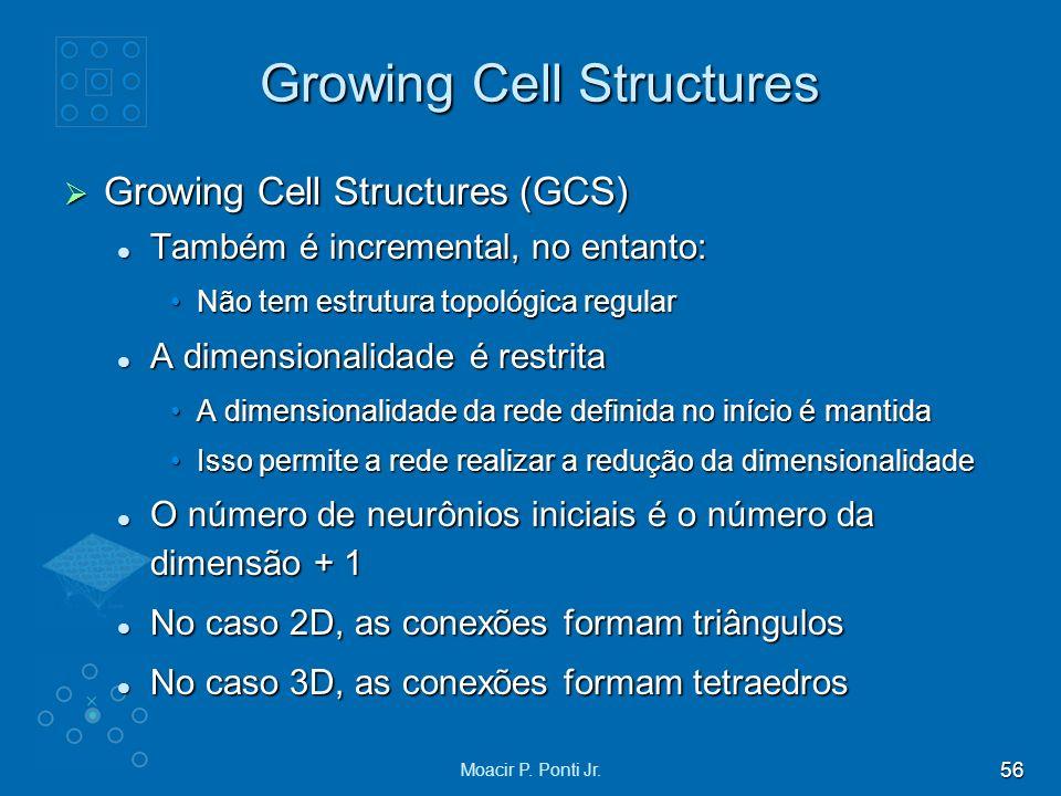 56 Moacir P. Ponti Jr. Growing Cell Structures Growing Cell Structures (GCS) Growing Cell Structures (GCS) Também é incremental, no entanto: Também é