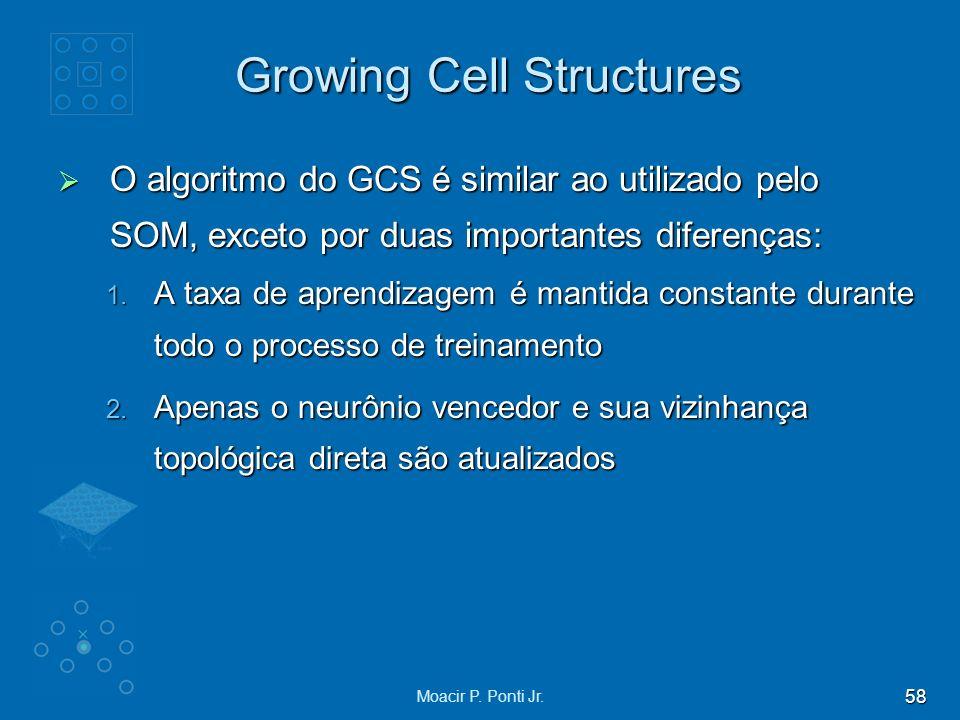 58 Moacir P. Ponti Jr. Growing Cell Structures O algoritmo do GCS é similar ao utilizado pelo SOM, exceto por duas importantes diferenças: O algoritmo