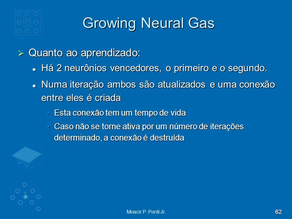 62 Moacir P. Ponti Jr. Growing Neural Gas Quanto ao aprendizado: Quanto ao aprendizado: Há 2 neurônios vencedores, o primeiro e o segundo. Há 2 neurôn