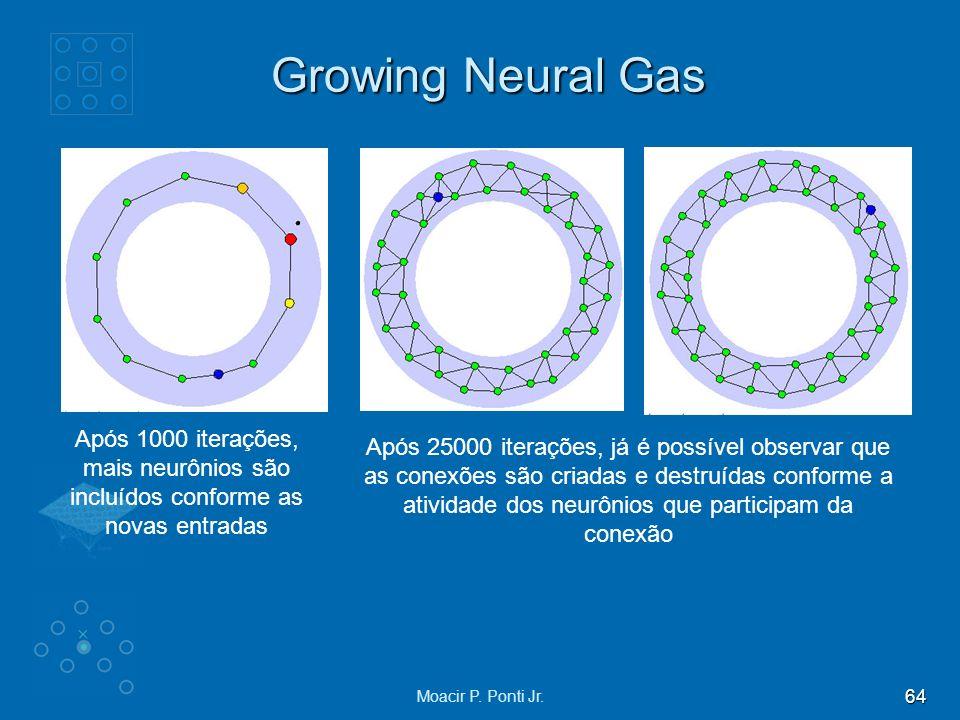 64 Moacir P. Ponti Jr. Growing Neural Gas Após 1000 iterações, mais neurônios são incluídos conforme as novas entradas Após 25000 iterações, já é poss