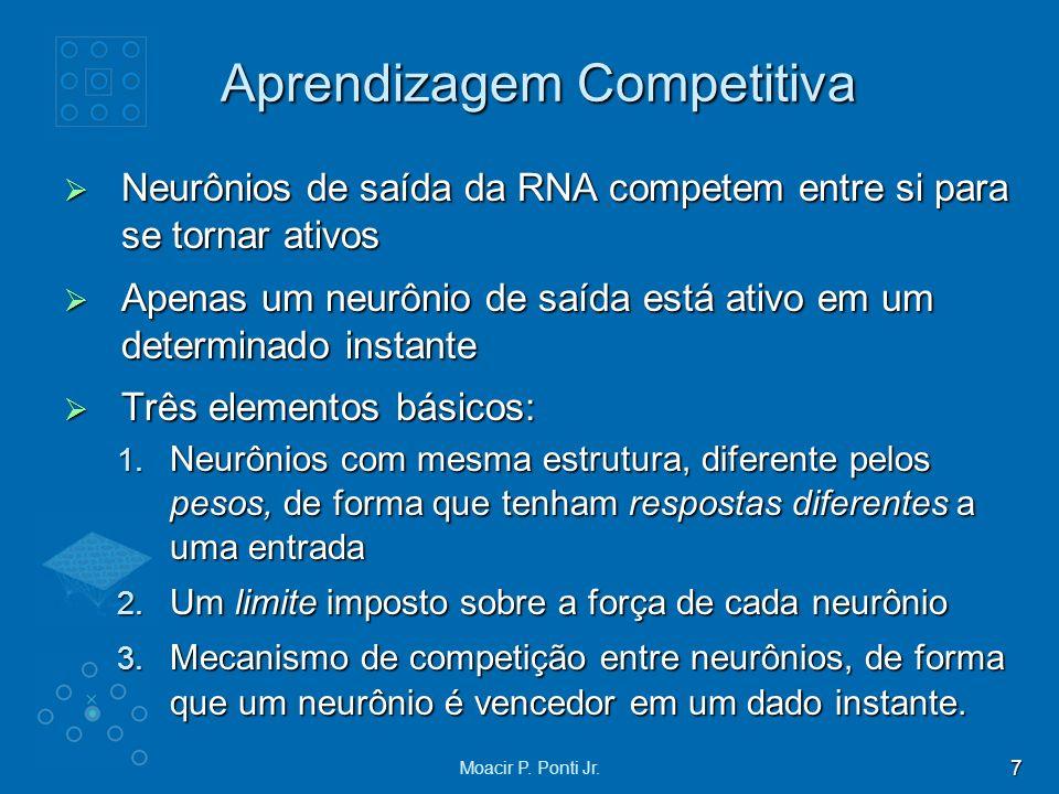 7 Moacir P. Ponti Jr. Aprendizagem Competitiva Neurônios de saída da RNA competem entre si para se tornar ativos Neurônios de saída da RNA competem en