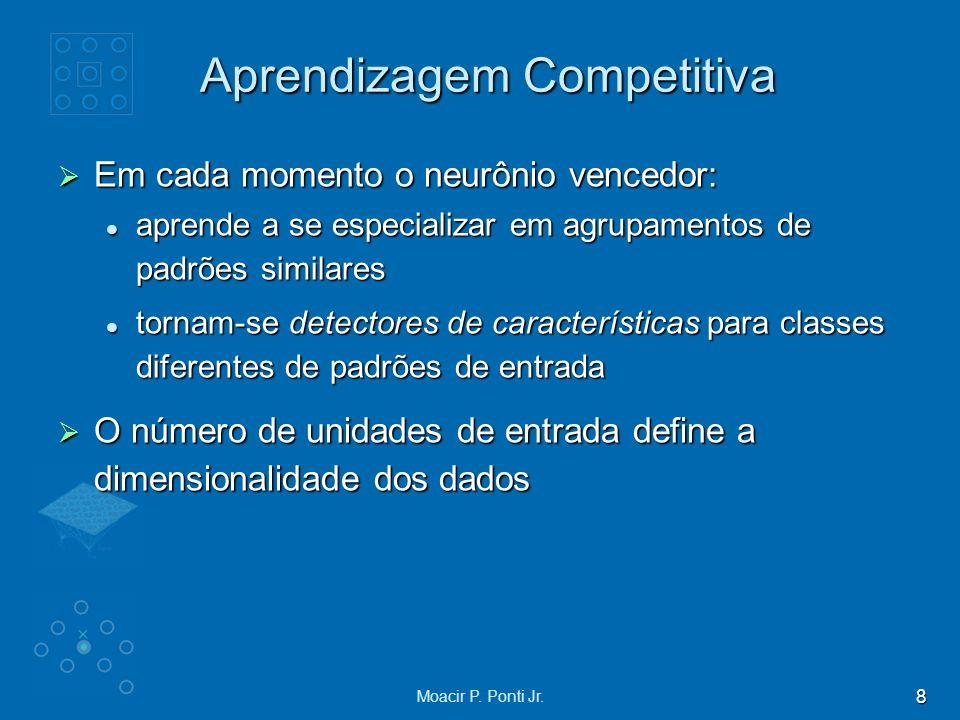 8 Moacir P. Ponti Jr. Aprendizagem Competitiva Em cada momento o neurônio vencedor: Em cada momento o neurônio vencedor: aprende a se especializar em