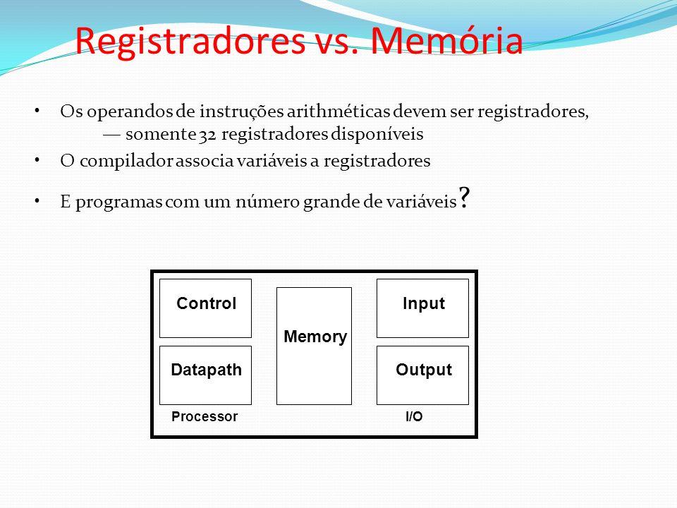 Registradores vs. Memória ProcessorI/O Control Datapath Memory Input Output Os operandos de instruções arithméticas devem ser registradores, somente 3