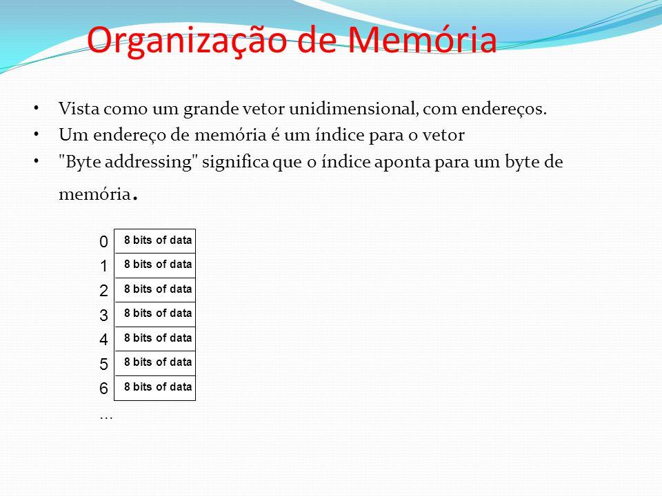 Organização de Memória Vista como um grande vetor unidimensional, com endereços. Um endereço de memória é um índice para o vetor