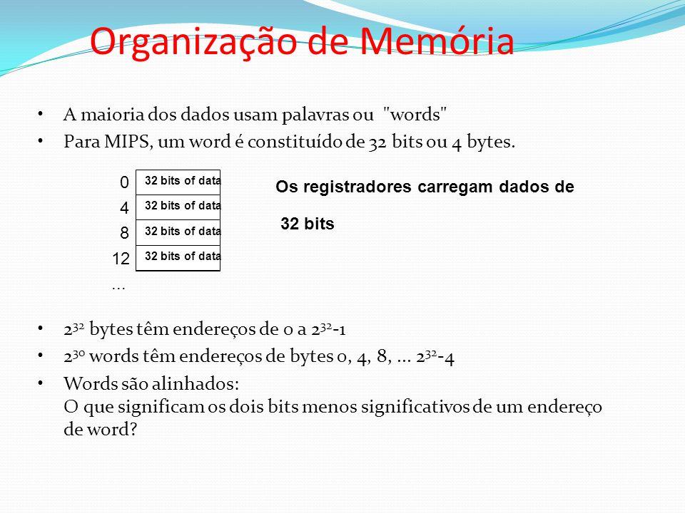 Organização de Memória A maioria dos dados usam palavras ou