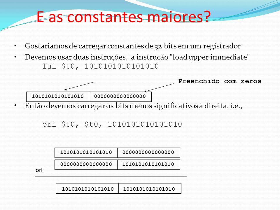 Gostariamos de carregar constantes de 32 bits em um registrador Devemos usar duas instruções, a instrução