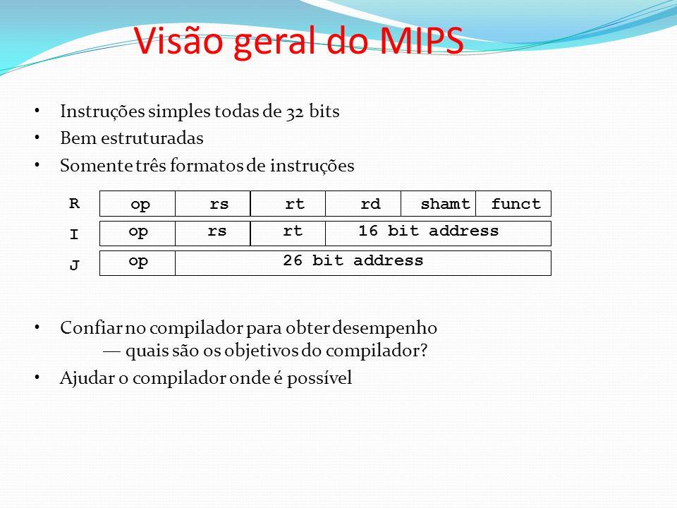 Instruções simples todas de 32 bits Bem estruturadas Somente três formatos de instruções Confiar no compilador para obter desempenho quais são os obje