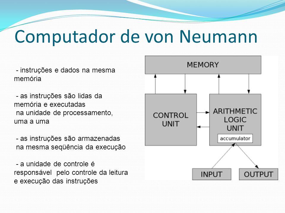 Computador de von Neumann - instruções e dados na mesma memória - as instruções são lidas da memória e executadas na unidade de processamento, uma a u