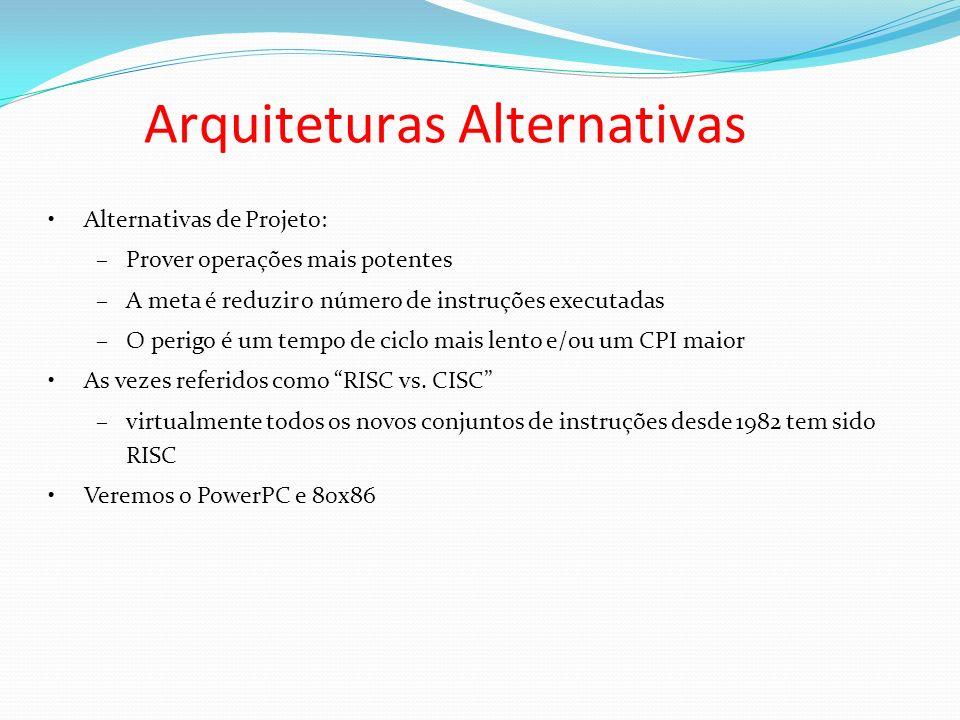 Alternativas de Projeto: –Prover operações mais potentes –A meta é reduzir o número de instruções executadas –O perigo é um tempo de ciclo mais lento