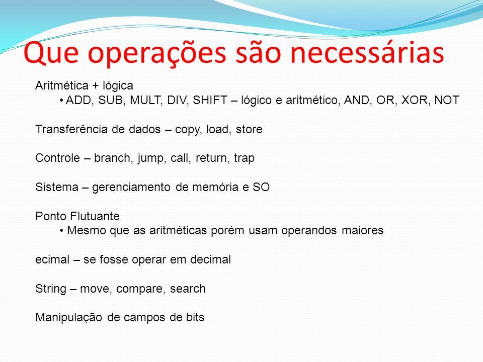 Que operações são necessárias Aritmética + lógica ADD, SUB, MULT, DIV, SHIFT – lógico e aritmético, AND, OR, XOR, NOT Transferência de dados – copy, l