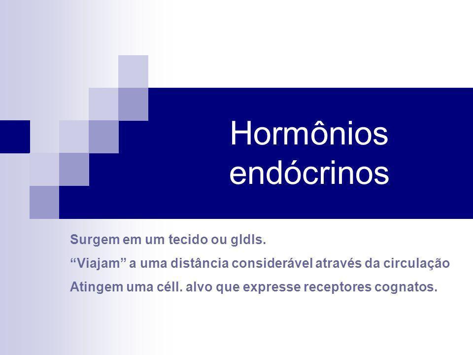 Hormônios endócrinos Surgem em um tecido ou gldls. Viajam a uma distância considerável através da circulação Atingem uma céll. alvo que expresse recep