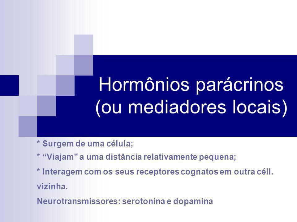 Hormônios parácrinos (ou mediadores locais) * Surgem de uma célula; * Viajam a uma distância relativamente pequena; * Interagem com os seus receptores